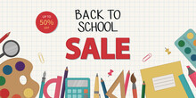 Back To School Sale. A Banner For Marketing Purposes. School Supplies On A Checkered Background. Vector Illustration.