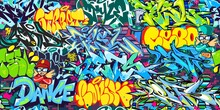 Colorful Abstract Urban Graffiti Street Art Seamless Pattern. Vector Illustration Background