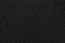 Black Steel Sheet With Embossed Diamond Pattern, Used For Floors And Industrial Building. Black Vintage Steel Plate Useful As Background