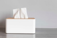Square White Wooden Box For Tissue Paper Towels