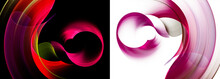Round, Wavy Magenta And Red Elements Intersect, Layered, And Rotate On Black And White Backgrounds. Two Backgrounds In One. Set Of Abstract Fractal Backgrounds. 3D Rendering. 3d Illustration.