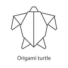 Logo Tortuga De Papel Estilo Origami Con Lineas De Color Gris