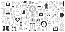Christmas Doodle Elements. Winter Holidays Hand Drawn Santa, Snowflakes, Gifts And Snowman Vector Illustration Set. Cute Christmas Doodle Symbols