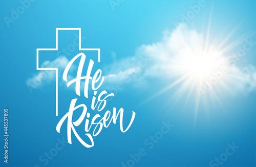 Fotografia He Was Resurrected Lettering Against Background Clouds Sun Background Congratula