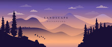 Mountain Background Vector. Landscape With Mountains And Sun, Mountainous Terrain, Sun Set Wallpaper Design For Wall Arts, Cover, Fabric. Vector Illustration.