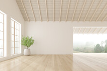 3d Render Of Empty Room With White Wall And Vase Of Plant On Wooden Laminate Floor.