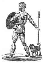 British Chieftain From Primeval Britain. Illustration Published In 1885. Out Of Copyright And Now In Public Domain.