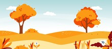 Autumn Road Landscape. Natural Forest Landscape. Vector Fall Foliage Nature Illustration.