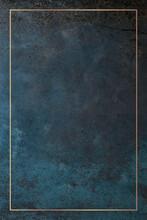 Rectangle Gold Frame On A Grunge Blue Background Vector
