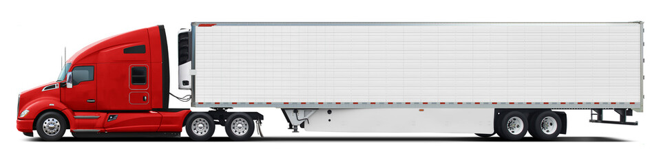 A large modern American truck with a white trailer and a red cab. Side view isolated on white background.