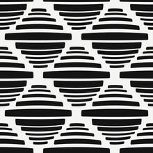 Black Striped Rhombs. Vector Seamless Primitive Wallpaper.