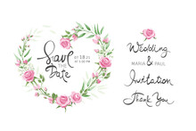 Pink Roses -- Set Design Elements For Wedding Invitations. Vector Illustration, Frame, Backgrounds  Watercolor Style. Calligraphic Lettering Collection.