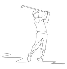 Single Continuous Line Drawing Of Young Happy Golf Player Swing The Golf Club To Hit The Ball. Hobby Sport Concept. Trendy One Line Draw Design Vector Illustration For Golf Tournament Promotion Media