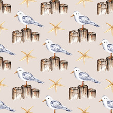Seamless Pattern With Watercolor Seagull, Bird, Repeat Sea Texture, Zen Background Hand Drawing. Perfectly For Wrapping Paper, Wallpaper, Fabric, Texture And Other Printing.