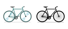 Bicycle Color And Black Icon Set. Cycle Wheel Colored Silhouette Sign On White Background. Bike City Transport Vehicle Symbol Vector Eps Illustration