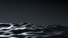 Abstract Dark Mesh Sea With Sunny Path Background. White 3d Render Of Lens Flare Black Geometric Waves With Gradient Gray Sky. Surface With Digital Futuristic Grid Of Alien Ocean