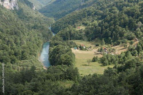 view of the mountain river in the green canyon from above Fototapet