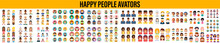 Smiling People Avatar Set Isolated Vector Illustration, Vector Cartoon Set Of Diverse Happy People Avatar Icons, Smiling Happy People Icons.