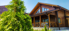 Wooden House. Beautiful House Made Of Wood. Cozy House