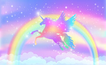 Rainbow Background With Winged Unicorn Silhouette With Stars.