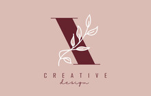 Red X Letter Logo Design With White Leaves Branch Vector Illustration.
