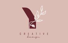 Red Y Letter Logo Design With White Leaves Branch Vector Illustration.
