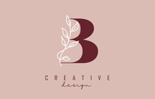 Red B Letter Logo Design With White Leaves Branch Vector Illustration.