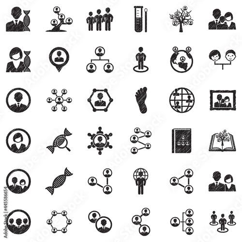 Tablou Canvas Ancestry Icons. Black Scribble Design. Vector Illustration.
