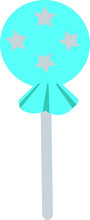 Blue Lollipop Vector Illustration Isolated On White Background. Yummy Sweet Pink Lollipop Design.