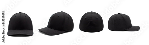 Foto Black stretch fit baseball cap product array isolated on a white infinity cove b