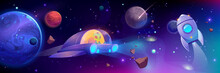 Alien Flying In Space Ship, Futuristic Technology