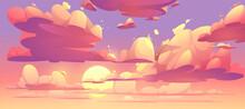 Vector Cartoon Sunset Sky With Clouds
