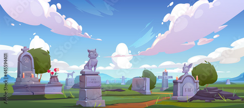 Obraz na plátne Pet cemetery, animal graveyard with tombstones