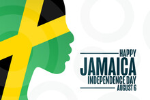 Jamaica. Happy Independence Day. August 6. Holiday Concept. Template For Background, Banner, Card, Poster With Text Inscription. Vector EPS10 Illustration.