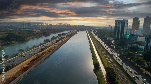Canvas View of Marginal Pinheiros with the Pinheiros river and modern buildings in Sao