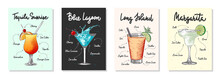 Set Of 4 Advertising Recipe Lists With Alcoholic Drinks, Cocktails And Beverages Lettering Posters, Wall Decoration, Prints, Menu Design. Hand Drawn Typography With Sketches. Handwritten Calligraphy.