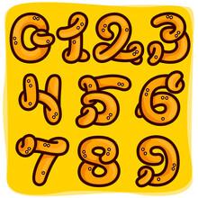 Numbers Set Made Of Pretzel.