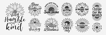 Set Of Vector With Inspirational Lettering With Sunflower, Hand Drawn Sunflower Quotes, Typography For T-shirt, Poster, Sticker And Card
