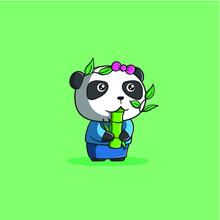 Panda Eating Bamboo Cute Vector Icon Illustration