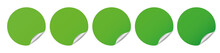 Set Of Different Colored Green Round Sticker Banners On White Background
