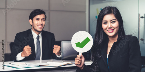 Fotografia, Obraz Human resource manager hire the male employment candidate who pass the interviewing, sitting in the office room