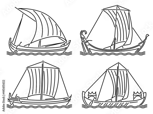 Canvas Print Set of simple vector images of single-masted ships of the early Middle Ages drawn in art line style