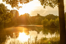 Sonnenuntergang Abendrot Am See In Der Lüneburger Heide