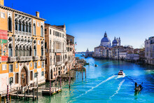 Beautiful Romantic Venice Town. View Of Grand Canal From Academy' Bridge. Italy