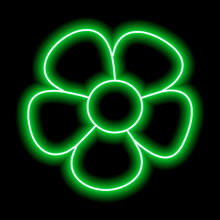 Neon Green Flower With Petals On A Black Background. Simple Illustration