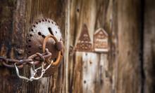 Old Wooden Doors And Doorknobs With Locks...