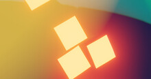 Render With Glowing Orange Rectangles On Blurred Yellow, Purple And Blue Background