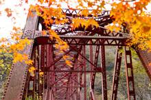 広島県帝釈峡、鉄骨橋ともみじのぼかし。