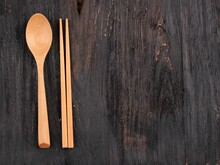 Korean Spoon And Chopstick, Sujeo Wooden Set