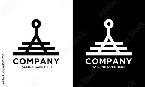 Canvas Anchor with triangle Logo design line art vector template.